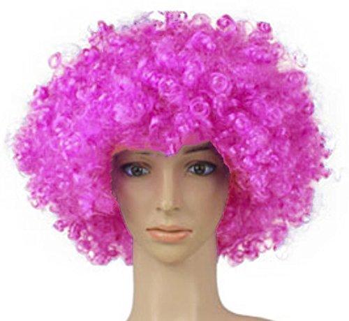 RUA Afro Curly Clown 70s Wig Halloween Football Fan Cosplay Wigs (Purple)