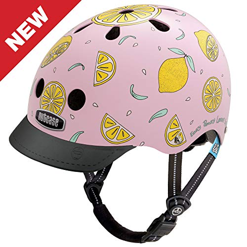 Nutcase - Patterned Street Bike Helmet for Adults, Pink Lemonade, Medium -