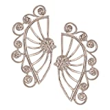 Efulgenz Ear Cuffs Earring Jackets CZ Feather Leaf Climber Cartilage Cuff Wrap Front and Back Studs