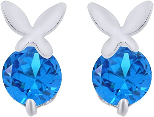 Simulated Birthstone Bunny Rabbit Stud Earrings in 14K Gold Over Sterling Silver