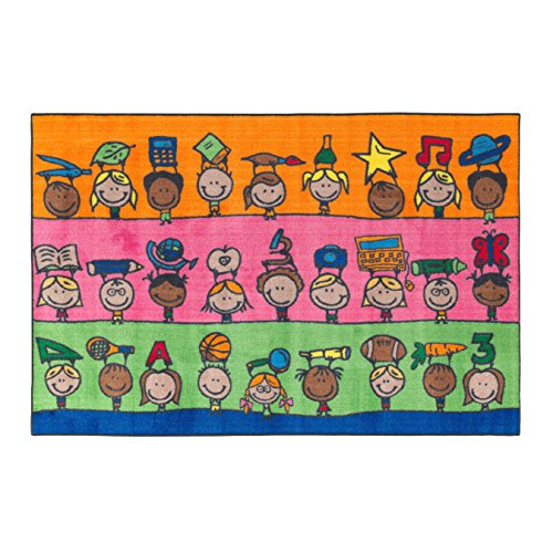 Flagship Carpets CE190-22W Fun at School Rug, Explore Health and Wellness As Well As STEAM Subjects, Children's Classroom Educational Carpet, 4' x 6', 48'' Length, 72'' Width, Multi-Color by Flagship Carpets