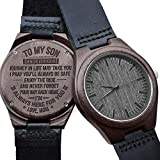 Engraved Wooden Watch for Men,Natural Wooden Groomsmen Watch for Husband Son Natural Ebony Customized Wood Watch Birthday Anniversary Gift (for Son)