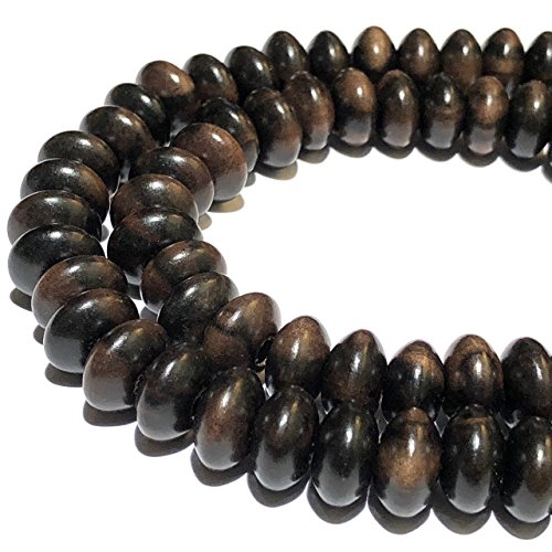 [ABCgems] Tiger Kamagong Hardwood AKA Ebony (Prime Cut from Center of Wood) 12mm Smooth Rondelle Beads for Jewelry Making