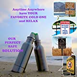 Stainless Steel Beer Bottle Koozie Cooler - NEW Design Prevents Leaks + Bottle Stopper + Insulated Bag + Bottle Opener + Carabiner - 12 OZ Bottles- Keeps Beer Ice Cold By Smart Ideas for Life