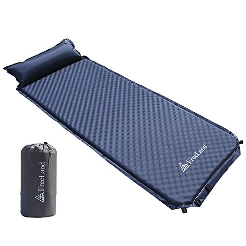 Freeland Camping Sleeping Pad Self Inflating with Attached Pillow, Compact, Lightweight, Large, Dark Navy Blue Color (Mattress Inflatable Camping)