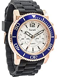 Ferretti Men's | White Dial Blue Bezel Rose Gold Black Silicone Band Watch | FT12301