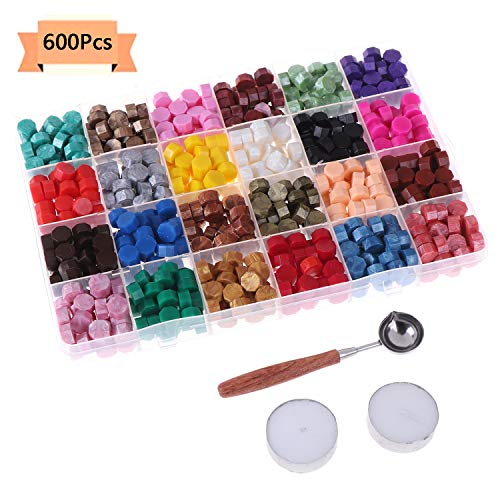- 600 Pieces Sealing Wax Beads with 2 PCS Tea Lights Candles and 1 PCS Wax Melting Spoon for Wax Seal Stamp, The Envelops, Wedding Invitations,24 Colors