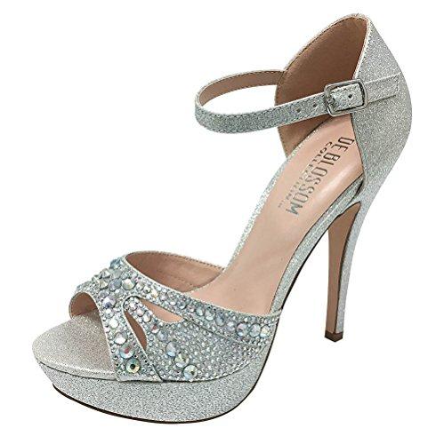 De Blossom Collection Wedding Prom Events Dress Sandal Pandora With Rhinestone Vamp Peep Toe Style High Heel Pandora-37 Silver xD06yneFa