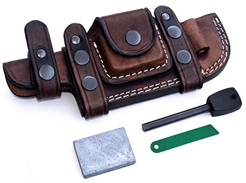 CFK Cutlery Company Custom Handmade BROWN Bushcraft TRACKER / Skinner Knife Buffalo Leather RIGHT / LEFT HAND Horizontal Scout Sheath & Sharpening Stone & Fire Starter Rod Set CFK138