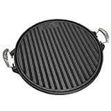GRILL & MORE Essentials 2 in 1 Round Cast Iron Griddle Plate, BBQ Two-sided Reversible Grill Plate – 43 cm