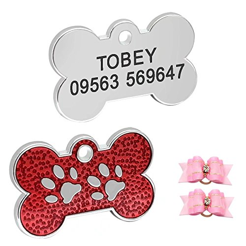 Didog Adorable Light Pet Dog ID Tags Bone Shaped Paw Print for Puppy Small Dogs,Yorkie,Poodle,Pug,Red