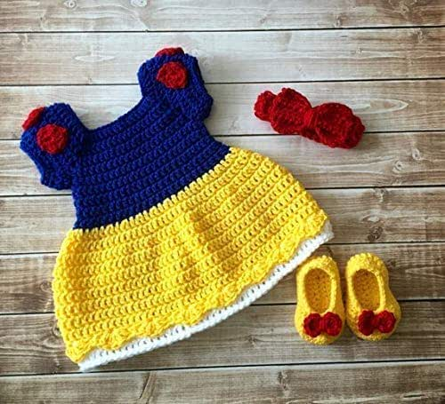 Yellow and White Baby Girl Crochet Dress with Headband Crochet Baby Dress Shoes Baby Blanket Coming Home Outfit 0-3 Months and Shoes