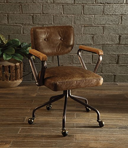 Major-Q 9092410 Vintage Whiskey Button Tufted Padded Back and Swivel Seat Top Grain Leather Executive Office Chair with Wooden Armrest and Metal Frame