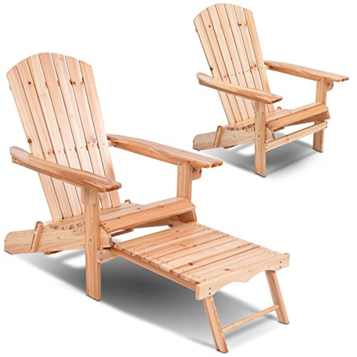 LeZhel Shop Brand New and Patio Foldable Wood Adirondack Chair with Footrest Stool, Contains A Built-in Retractable Ottoman That Provides Support for Your Feet (Ottoman With Retractable Adirondack Chairs)