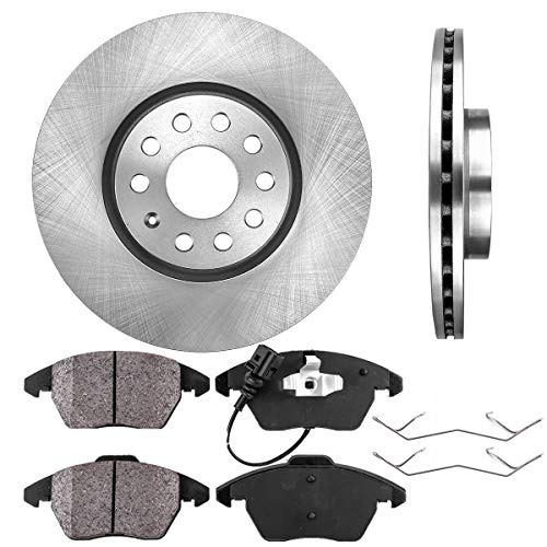 FRONT 312 mm Premium OE 5 Lug [2] Brake Disc Rotors + [4] Ceramic Brake Pads + - Turbo Beetle Brake Pad