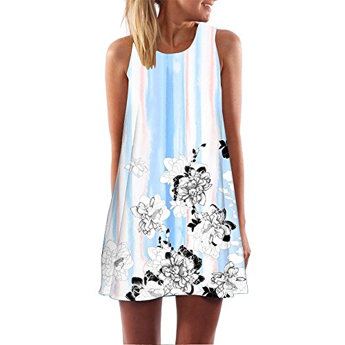 Dressin Womens Dress Summer O-Neck Boho Sleeveless Floral Printed Beach Mini Dress Casual T-Shirt Tank Tops Short Dress ()