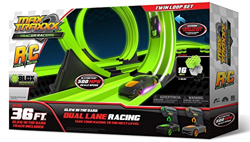 Max Traxxx R/C Tracer Racers High Speed Remote Control Twin Loop Track Set with Two Cars for Dual Racing