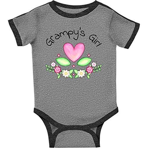 inktastic Grampys Girl- Heart Infant Creeper Newborn Ringer Heather and Smoke