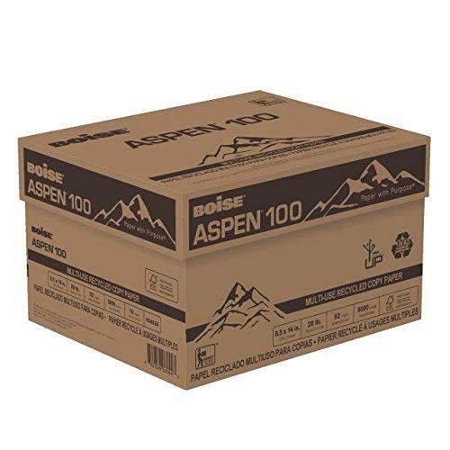 BOISE ASPEN 100 MULTI-USE RECYCLED COPY PAPER, 8 1/2'' x 14'', Legal, 92 Bright White, 20 lb., 5000 Sheets/Carton, 30 Cartons/Pallet
