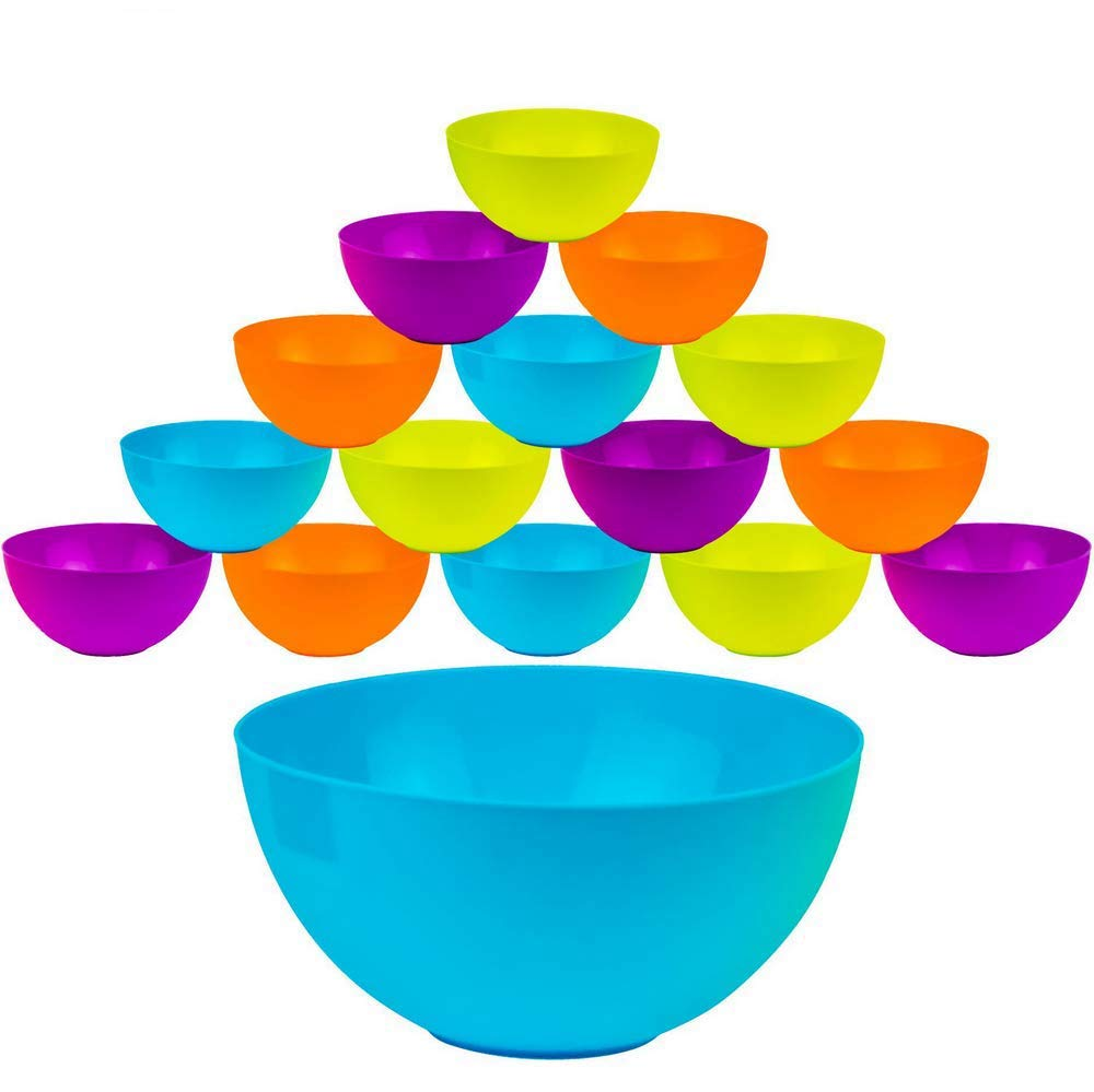 DecorRack Set of 16 Round Cereal Bowls, Soup Bowl for Salat, Fruit, Dessert, Snack, Small Serving and Mixing Bowls, BPA Free - Plastic, Shatter Proof and Unbreakable, Assorted Colors, 25oz (16 Pack)