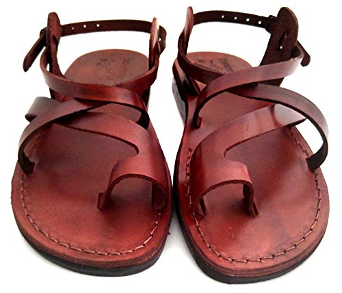 Camel Unisex Genuine Brown Leather Style  006 Jesus Biblical Greek Roman  Sandals 957f50d94
