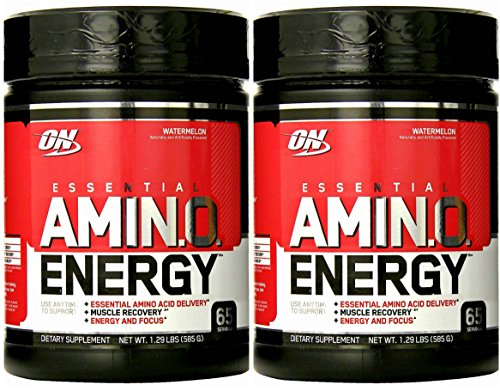 Optimum Nutrition Essential Amino Energy, Watermelon, 65/S, 1.29 lbs (2 Pack)