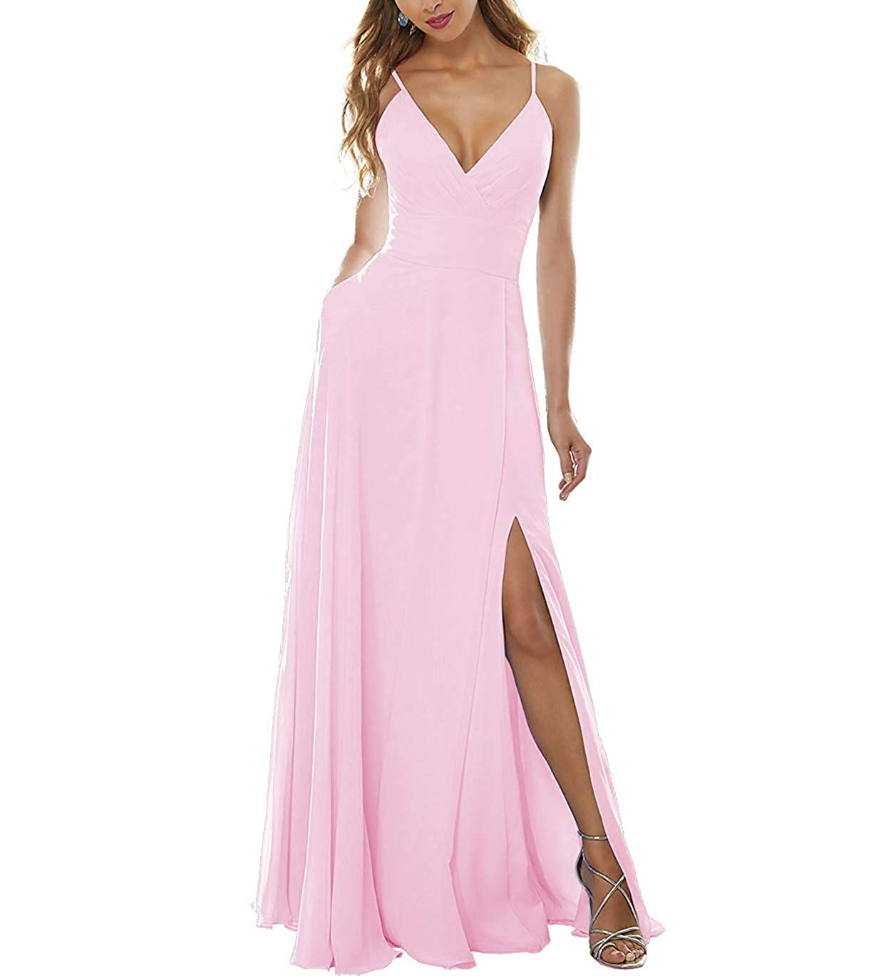 Light Pink Stylefun Women's Side Split Bridesmaid Gowns VNeckline Spaghetti Straps Long Prom Party Dresses KN004