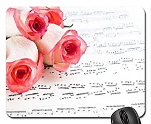 Music & Roses Mouse Pad, Mousepad (Flowers Mouse Pad, 10.2 x 8.3 x 0.12 inches)