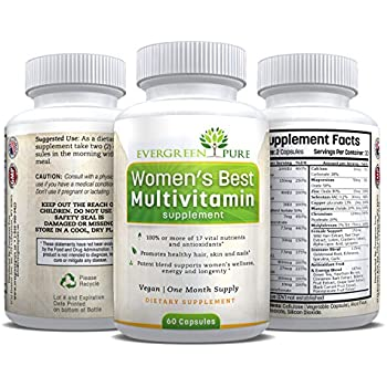 Women's Best Multivitamin, One Month's Supply, Vegetarian/Vegan Blend, Easy to Digest and Swallow - 100% Money Back Guarantee