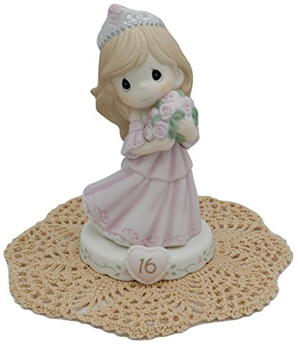 Precious Moments Growing in Grace Girl Female Collectible Figurines with Westbraid Doily Age 16, Brunette Hair