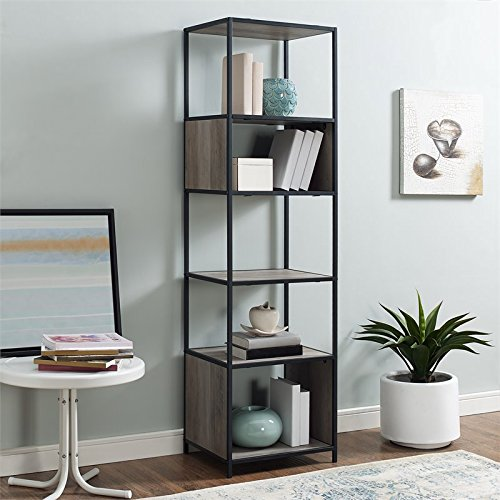 70'' Metal and Wood Tower - Grey Wash by Walker Edison Furniture Company
