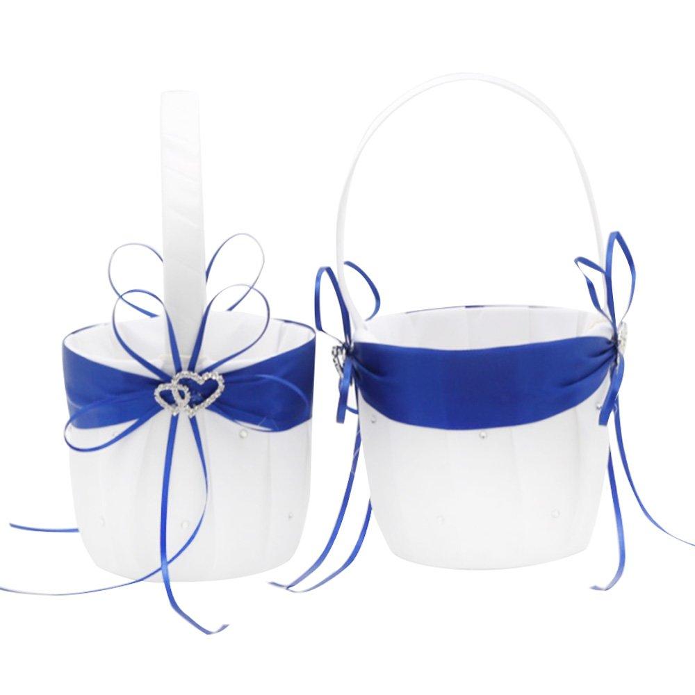 AmaJOY 2pcs Beach Wedding Flower Girl Basket White and Royal Blue Flower Basket with Double Heart Rhinestone Decor