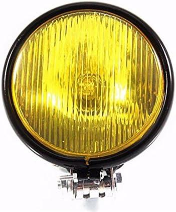 Mod/èle 1 Caf/é Old School festonn/é Vintage lampe frontale moto r/étro /à ailettes grill phare 12V H4 universel