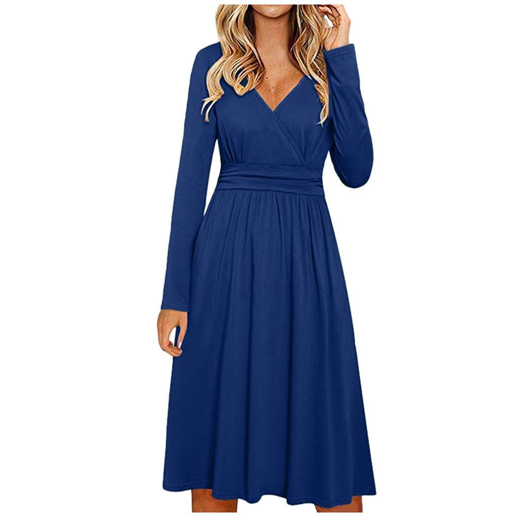 BeihxweWomen Wrap Waist Flowy Party Dresses Solid Color Slim Fit Long Sleeve Casual Flared Midi Dress (L, Blue) by Beihxwe