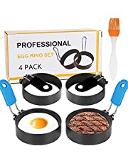 Professional Egg Ring Set for Frying Or Shaping Eggs - 4 Pack Round Egg Rings for Cooking - Stainless Steel Non Stick Mold Shaper Circles for Fried Egg McMuffin Sandwiches - Egg Maker Molds