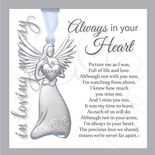 (Always in Your Heart Sympathy Sentiment - Memorial/Remembrance/ Bereavement Gift (Metal Angel) )