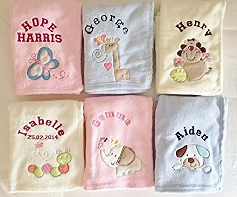 "PERSONALISED BABY PRAM BLANKET DIFFERENT PATTERNS  /""GIFT WRAPPED/"""