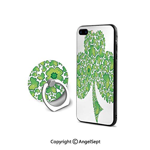 Patterns Trinity (Protective Case for iPhone 8/iPhone 7 with Ring Holder Kickstand,Irish Shamrock Figure Made with Small Clover Patterns Trinity Symbol Graphic,Shock-Absorption Bumper,Green White)