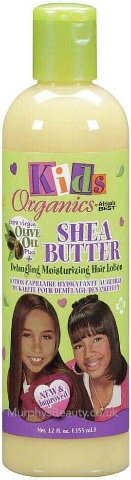 Kids Organics Africa's Best, Loción Hidratante para Desenredar el Pelo con Aceite de Oliva y Manteca de Karité - 355 ml