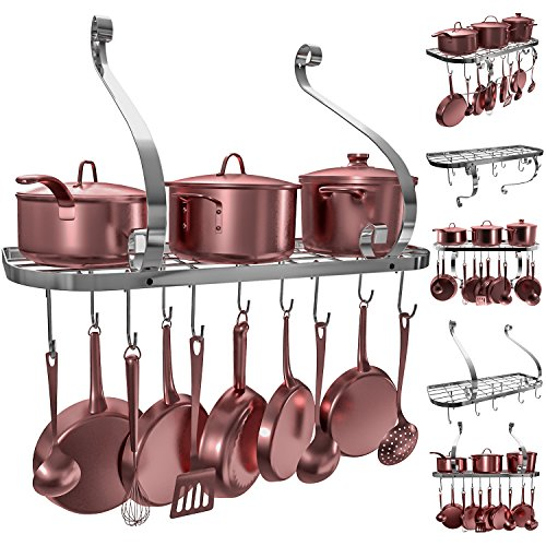 Copper Low Grid Rack - VDOMUS Square Grid Wall Mount Pot Rack, Bookshelf Rack with 10 Hooks, Kitchen Cookware, 24 by 10-inch (Sliver)