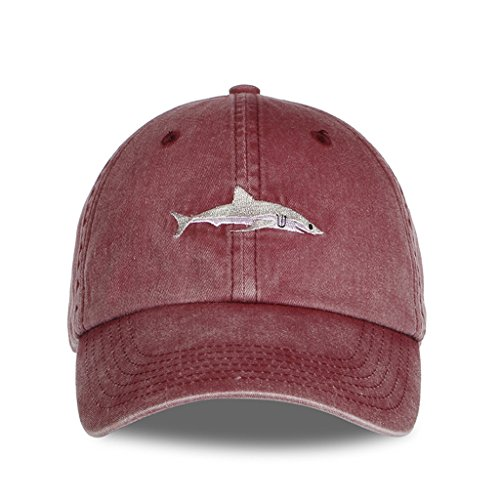 Okaeienen Unisex Baseball Cap Shark Embroidery Washed Denim Adjustable Cap