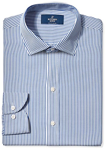 Shirt Dress Stripe (BUTTONED DOWN Men's Slim Fit Spread-Collar Non-Iron Dress Shirt, Blue Bengal Stripe, 16