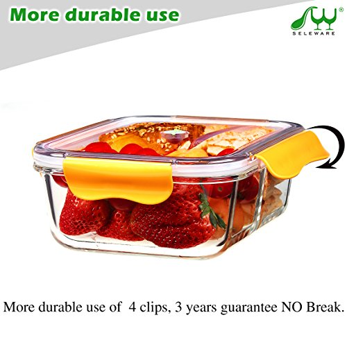 seleware food containers glass with dividers lids lock for lunch containers bpa free bento box leak proof airtight food container oven safe