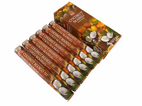 Coconut Incense - 1 X Coconut Mango - Box of Six 20 Stick Tubes, 120 Sticks Total - HEM Incense