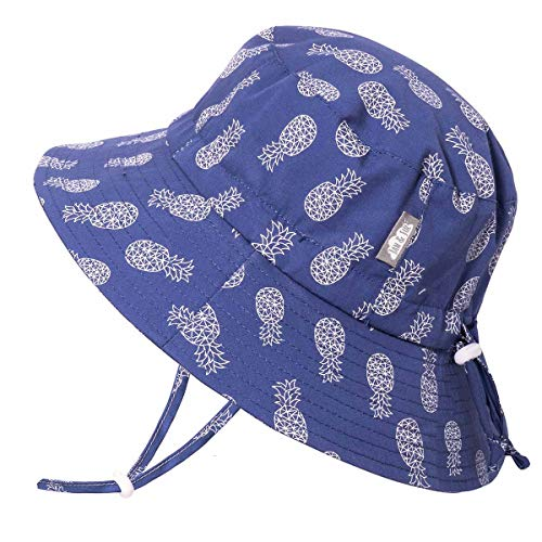 JAN & JUL Toddler Boys Girls Cotton Bucket Sun Hats 50 UPF, Drawstring Adjustable, Stay-on Tie (M: 6-24m, Geo Pineapple)