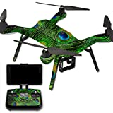 MightySkins Protective Vinyl Skin Decal for 3DR Solo Drone Quadcopter wrap cover sticker skins Peacock Feathers