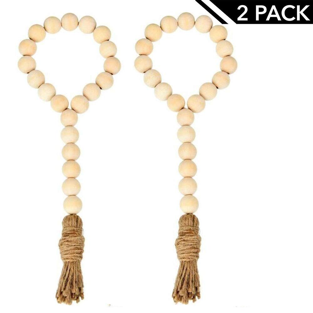 SHEOB Natural Wood Bead Garland with Tassels Farmhouse Beads 2Pcs Rustic Country Decor Prayer Beads Wall Hanging Decor