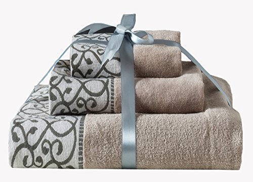 XFXHome Bath Towel Set 100% Quality Cotton, Elegant Soft and Absorbency, Decorative Towel for Bathroom, Machine Washable, 3 piece (Brown)