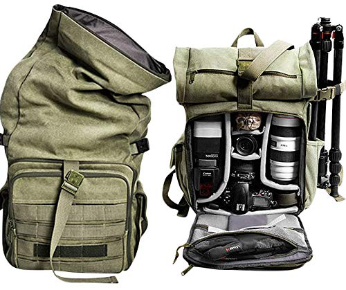 Camera Bag Backpack Heavy Canvas Bag Photography Backpack Water Repellent DSLR SLR Camera Bag with Rain Cover Video Camcorder Bags DSLR Backpack (Army Green)