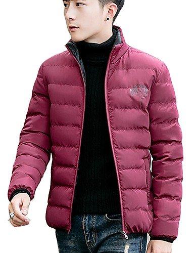 ASDASD SWDFSDF Herren Gefüttert Mantel,Standard Einfach Lässig Alltäglich Übergröße Solide Buchstabe-Polyester Polyester Langarm
